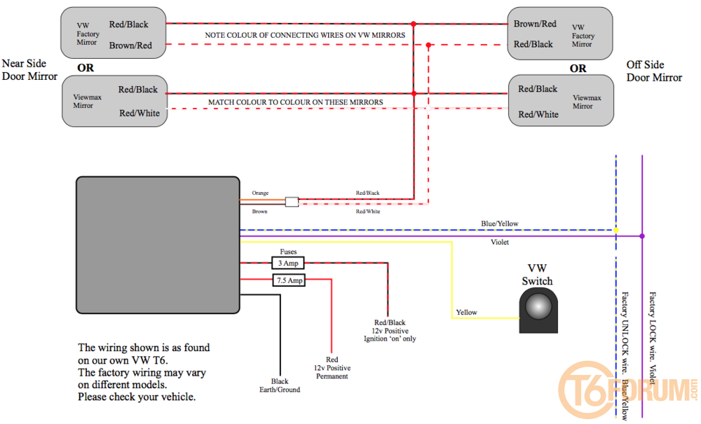 Electric Mirror Wiring Diagram from www.t6forum.com